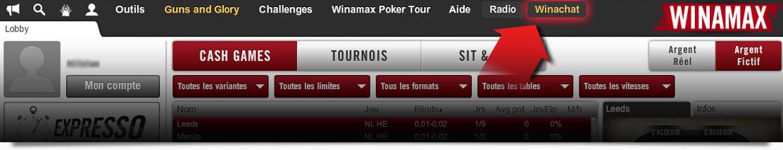 cliquez simplement sur l'onglet « Winachat » dans le lobby poker