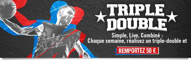 Triple ou double. Simple, live, combiné : chaque semaine, réalisez un triple-double et remportez 50 euros