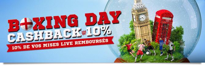 Cashback Boxing Day : 10% de vos mises remboursés