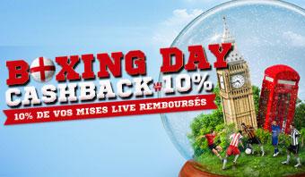 Boxing Day, Cashback 10%, 10% de vos mises live remboursés