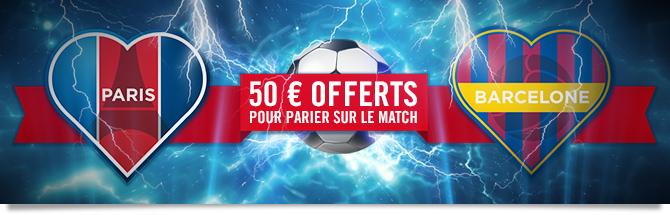 50euros offerts pour parier sur le match