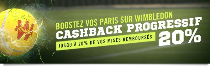 Boostez vos paris sur Wimbledon. Jusqu'à 20% de vos mises remboursés.