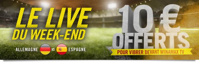 Live du week-end. 10 euros offerts.