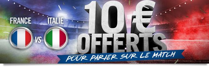 10 euros offerts pour parier sur le match
