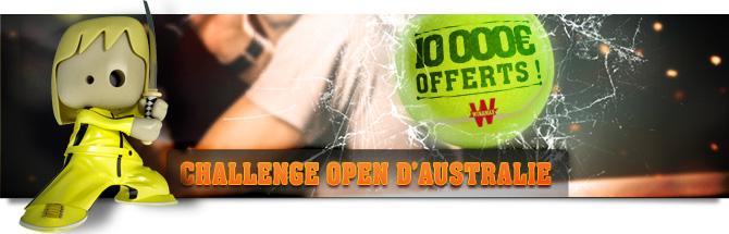 Challenge Open d'australie : 10000 euros offerts ! Les plus grosses primes pour les plus grosses cotes !