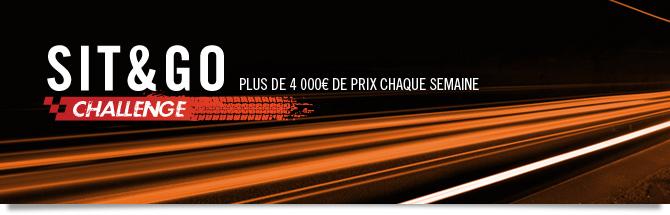 Challenge Sit & Go : plus de 4000 euros de prix chaque semaine