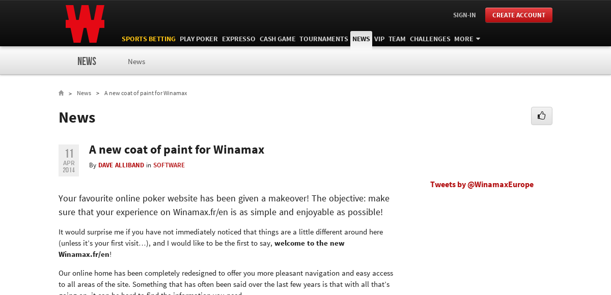 A new coat of paint for Winamax - News