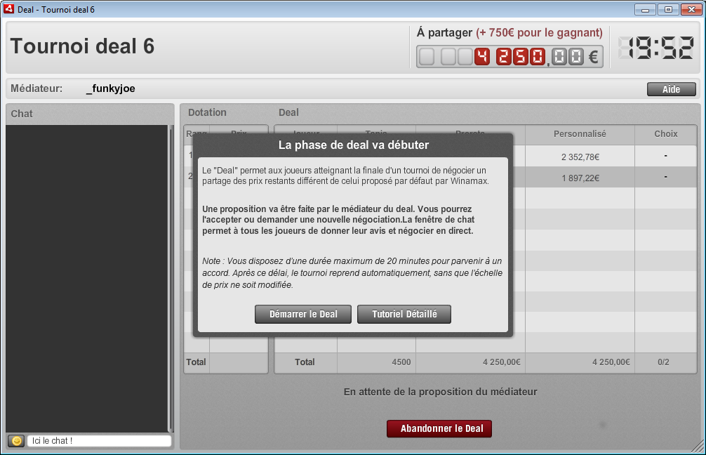 screenshot : La phase du deal va débuter