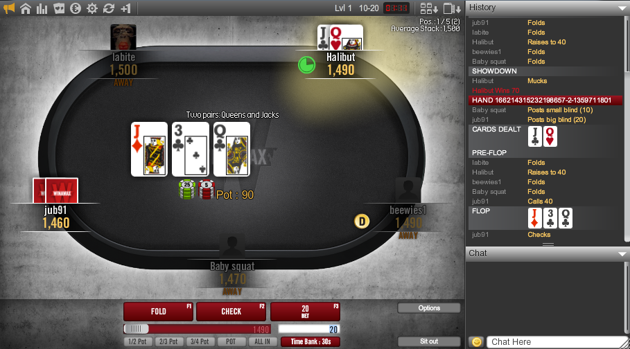 Winamax Tournament Table