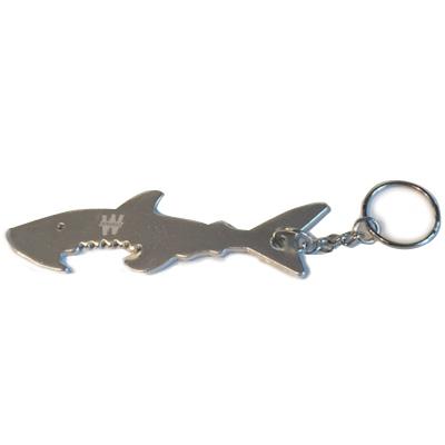Porte-clé requin décapsuleur argenté