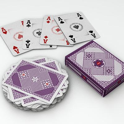 Jeu de cartes violet
