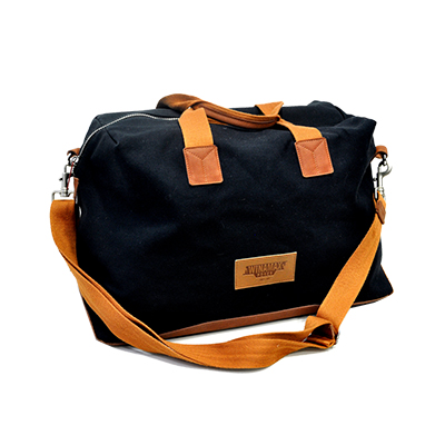 Nouveau sac en toile bleu marine et cuir marron
